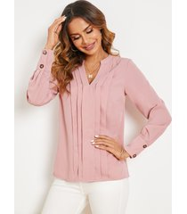 blusa de manga larga con cuello en v y diseño plisado yoins