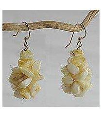 agate cluster earrings, 'sandy shores' (ghana)