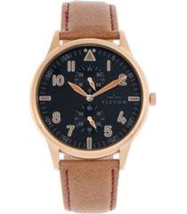 elevon men's turbine genuine leather strap watch 45mm