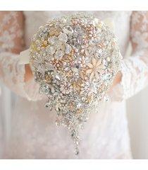 ivory gold bridal brooch bouquet, wedding bride 's crystal droplets teardrop bou