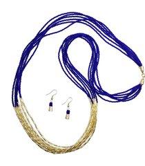collar mostacilla azul y canutillo