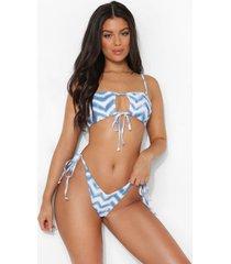 chevron korte sleutelgat bikini top, blue