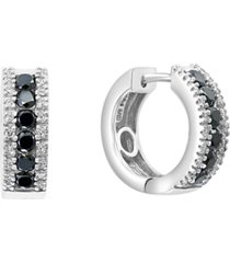effy black & white diamond hoop earrings (7/8 ct. t.w.) in 14k white gold
