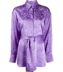 msgm floral-jacquard belted shirt - purple