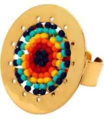 anillo imperial baño oro tejido colores bijulovers