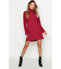 roll neck ribbed long sleeve mini dress, wine