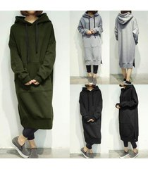 zanzea women hooded long hoodies tops loose fleece lined casual plus long dress
