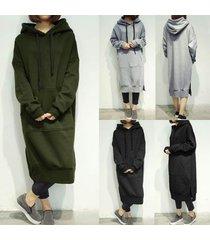 zanzea women hooded long hoodies tops loose fleece lined casual plus long dress