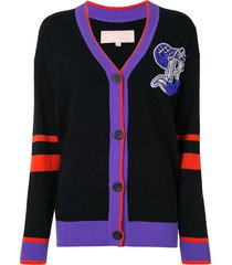bapy by *a bathing ape® colour-block embroidered cardigan - purple