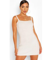 fluffy knit square neck mini dress, ivory
