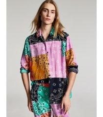 sun + stone men's lance regular-fit colorblocked bandana-print patchwork camp shirt