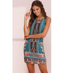 vestido curto viscolycra alças étnico azul