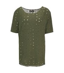 camiseta manga curta em malha furadinha verde acinzentado - m