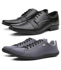 kit sapato social em couro + sapatênis casual preto/cinza