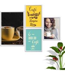kit conjunto 4 quadro oppen house s frases com cafã© quente sempre bom lojas cafeteria xãcaras grã£os moldura branca decorativo interiores    sem vid