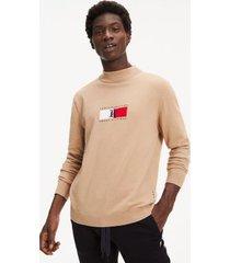 tommy hilfiger men's lewis hamilton sweater tan - xxl