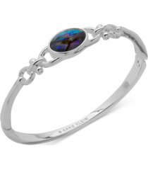 anne klein silver-tone blue abalone hinge bangle bracelet