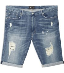 mvp collections by mo vaughn productions men's big tall distressed wash denim shorts