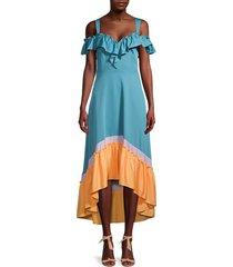 bcbgmaxazria women's colorblock off-the-shoulder midi dress - blue multi - size xs