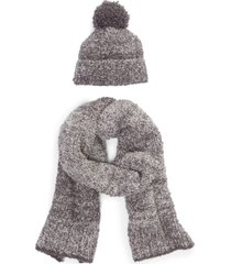 women's barefoot dreams pompom beanie & scarf set