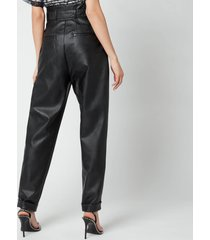 philosophy di lorenzo serafini women's faux leather trousers with bow detail - black - it 40/uk 8