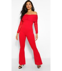 mesh bardot ruched jumpsuit, red