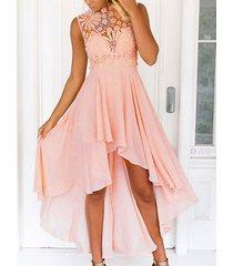 inserción delicada de encaje de ganchillo maxi vestido en rosa
