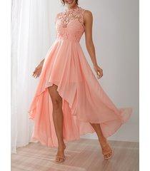 inserto de encaje de crochet delicado maxi vestido en rosa