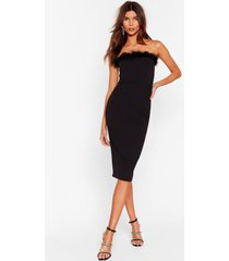 womens feather look back bandeau midi dress - black