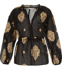 licht transparante blouse prodelsi  zwart