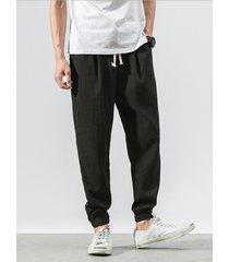 harem de lino de algodón estilo chino para hombre pantalones casual pantalones