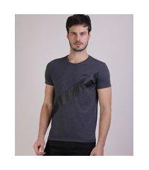 camiseta masculina slim com recorte manga curta gola careca cinza mescla escuro