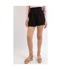 short feminino clochard cintura alta com botões preto