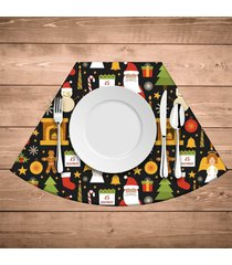 jogo americano para mesa redonda elementos natalinos coloridos kit com 6 pçs