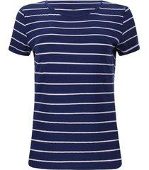 camiseta c/r a rayas blancas color azul, talla s