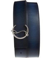 men's christian louboutin logo buckle leather belt