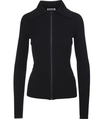 jil sander fitted black cardigan with zip