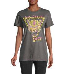 goodie two sleeves women's def leppard graphic t-shirt - dark grey - size m