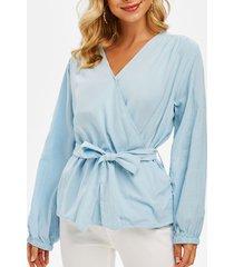belted plain surplice blouse