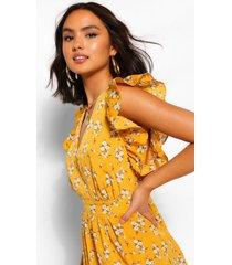 bloemenprint midi jurk met geplooide mouwen, mosterd