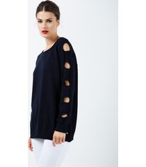 sweter luźny z dziurami niebieski