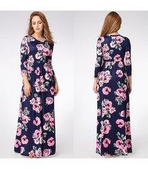 vestido largo estampado floral para mujer correa con cuello en v vestidos de playa divididos media manga suelta vestidos-665blue