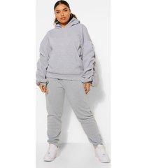 plus oversized hoodie met geplooide mouwen, grey