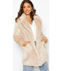 tall double breasted faux fur coat, oatmeal