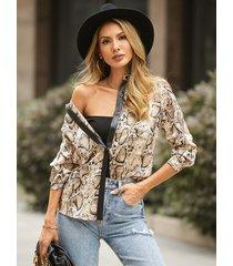 blusa de manga larga con cuello de patrón de piel de serpiente yoins