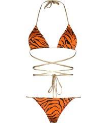 reina olga hawn tiger stripe wrap-around bikini set - orange