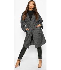 herringbone belted wool look coat, grey