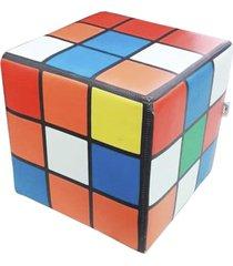 pufe de madeira cubo magico - multicolorido - good pufes - tricae