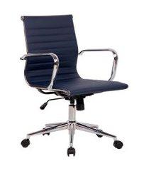 cadeira de escritório secretária sevilha ii estofada azul marinho