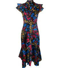 peter pilotto tropical print dress - black